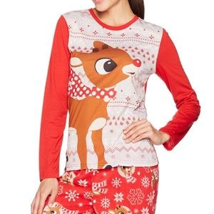 Rudolph The Red Nosed Reindeer Pajama Top NWT